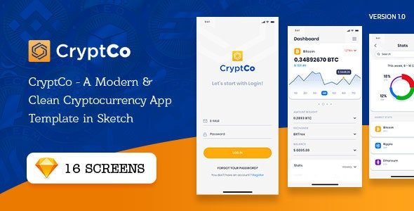CryptCo - A Modern & Clean Cryptocurrency App Template in Sketch - Business Corporate