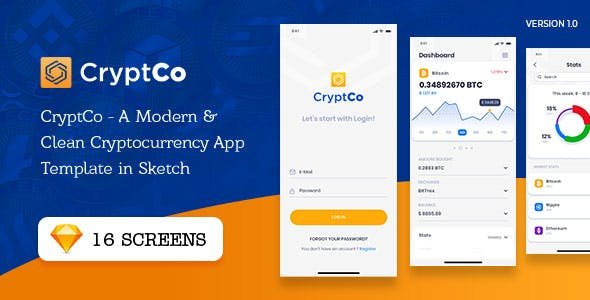 CryptCo - A Modern & Clean Cryptocurrency App Template in Sketch
