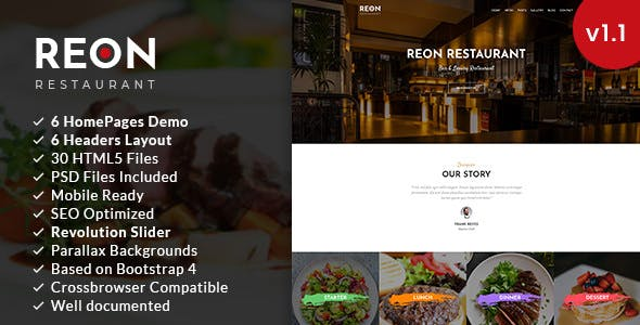 Reon Restaurant Html5 Template Restaurants Cafes Entertainment