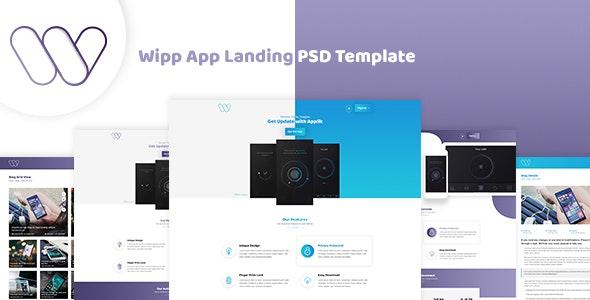 Wipp -  App Landing PSD Template - Photoshop UI Templates