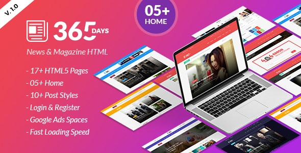 365 Days | News HTML Template - Personal Site Templates