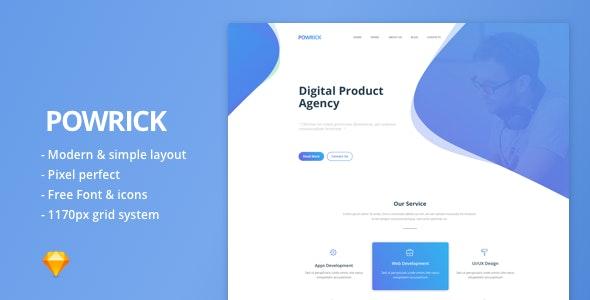Powrick - Digital Agency Sketch Template - Sketch UI Templates