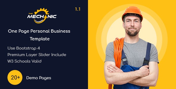 TheMechanic - One Page Personal Business Template - Personal Site Templates