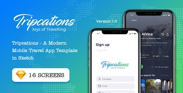 Tripcations - A Modern Mobile Travel App Template in Sketch - Travel Retail