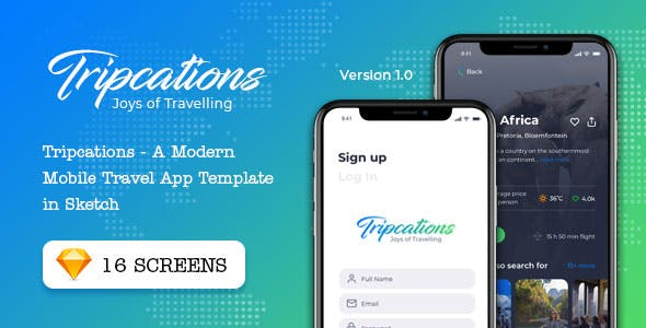 Tripcations - A Modern Mobile Travel App Template in Sketch