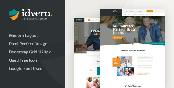 idvero - Insurance Company PSD Template - Business Corporate