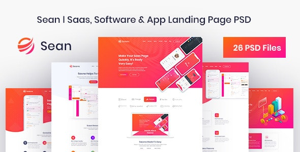 Sean - Saas, Software & App Landing Page PSD Template - Software Technology