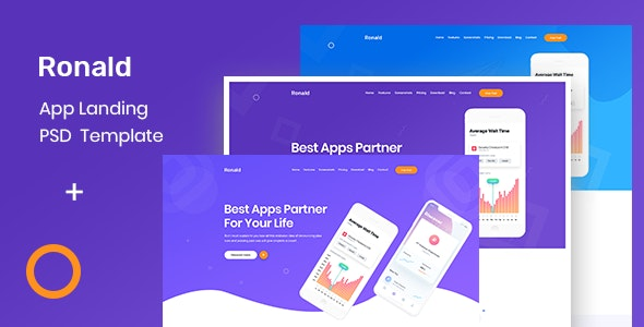 Ronald- App Landing Page - Technology Photoshop