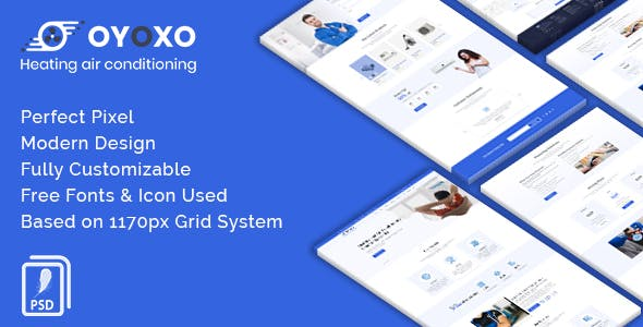 OYOXO - Heating air conditioning services PSD Template