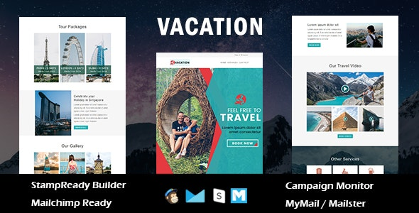 Vacation - Multipurpose Responsive Email Template With Online Stampready Builder Access - Newsletters Email Templates