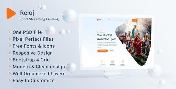 Reloj - Sports Streaming Landing PSD Templates - Film & TV Entertainment