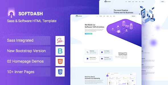 Softdash - Creative SaaS and Software HTML5 Template+RTL - Technology Site Templates