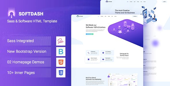 Softdash - Creative SaaS and Software HTML5 Template+RTL