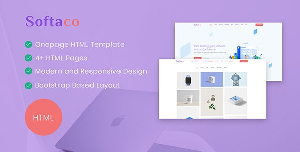 Softaco - Onepage HTML Template - Corporate Site Templates