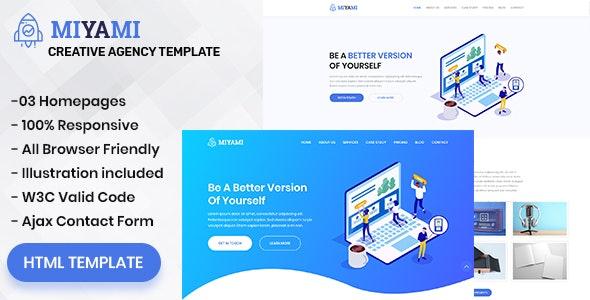 Miyami - One Page Creative Agency HTML Template - Creative Site Templates
