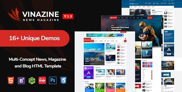 Vinazine - Multi-concept News, Magazine HTML Template - Entertainment Site Templates
