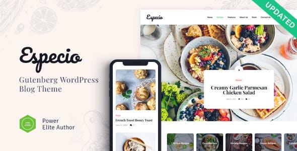 especio yemek blog wordpress teması