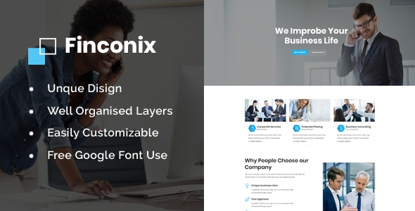 Finconix - Corporate & Financial Business HTML5 Template - Business Corporate