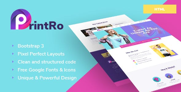 T-shirt Print Website Templates from ThemeForest