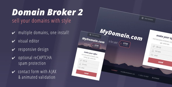 Domain Broker 2 - Landing Page to Sell Domains - Miscellaneous Specialty Pages