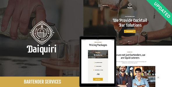 Daiquiri | Bartender Services & Catering Cocktail WordPress Theme - Restaurants & Cafes Entertainment