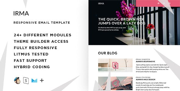 Irma  – Responsive HTML Email + StampReady, MailChimp & CampaignMonitor compatible files