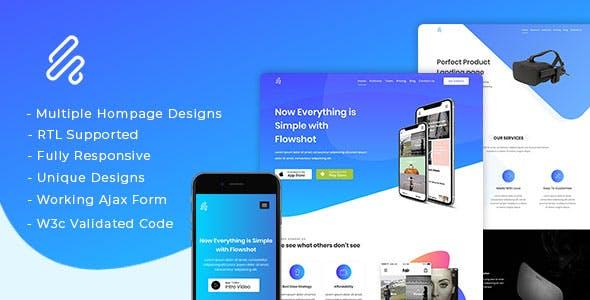 Flowshot - Multi Concept App & SaaS Landing Page + RTL Support