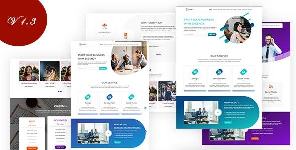 Zagency Digital Agency and Company Portfolio Template - Technology Site Templates