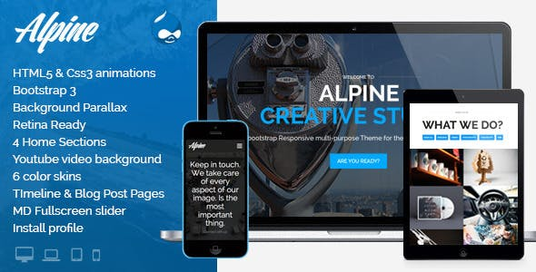 Alpine - Responsive One Page Parallax Drupal Theme