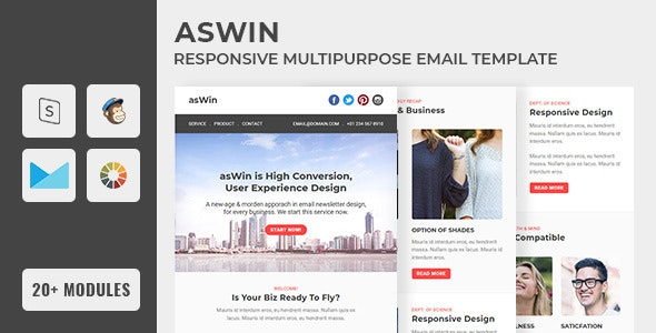 asWin - Email Newsletter Template - Email Templates Marketing