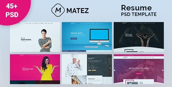 Matez - Personal Portfolio / Resume / CV PSD Template - Personal Photoshop