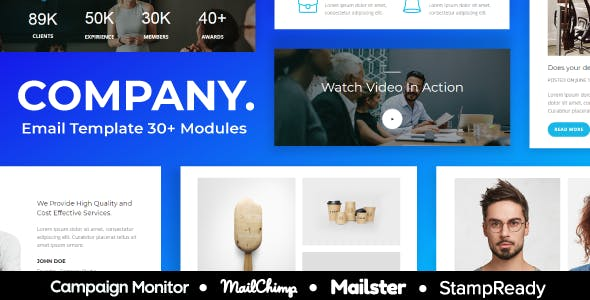 Company - Agency Responsive Email Template 30+ Modules - StampReady + Mailster & Mailchimp Editor