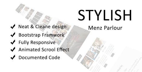 Stylish Onepage Menz Parlour Template - Health & Beauty Retail