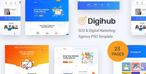 Digihub - SEO & Digital Marketing Agency PSD Template - Marketing Corporate