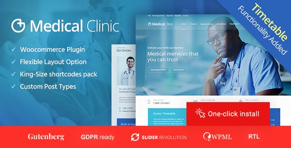 Medical Clinic - Doctor and Hospital Health WordPress Theme - Health & Beauty Retail