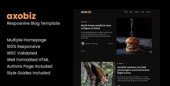 Axobiz - Responsive Blog HTML Site Template - Creative Site Templates