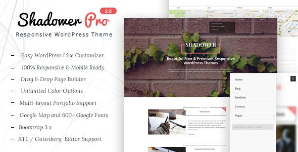 Shadower Pro - Free Responsive WordPress Theme