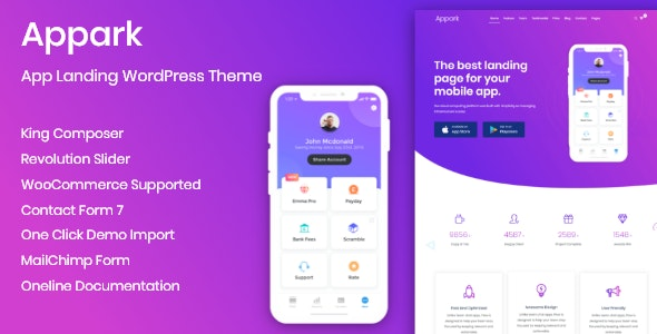 Appark - App Landing Page - Software Technology
