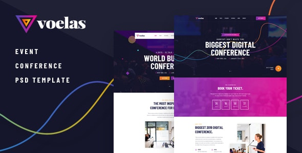Voelas - Modern Event & Conference Organization PSD Template - Events Entertainment