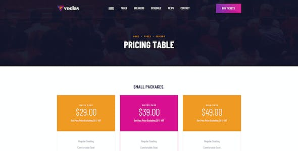 Voelas - Modern Event & Conference Organization PSD Template