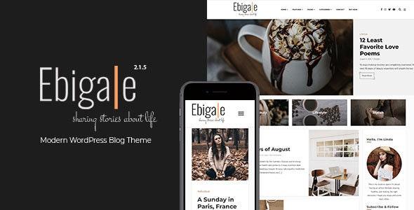 Ebigale -  Modern Gutenberg WordPress Blog Theme - Personal Blog / Magazine