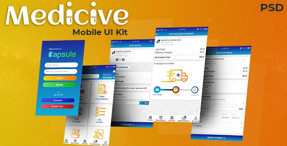 Medicive Mobile UI Kit with XD files - Health & Beauty Retail