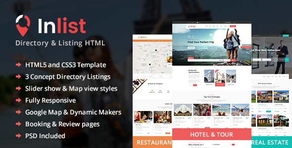 Inlist - Directory Listing HTML5 Template - Business Corporate