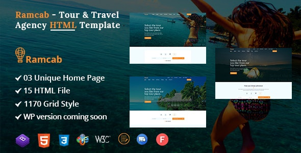 Ramcab - Tour & Travel Booking Bootstrap4  HTML Template - Travel Retail