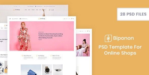 Biponon - PSD Template For Online Shops - Shopping Retail