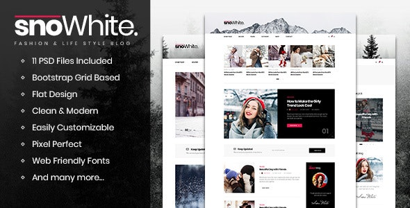 SnoWhite - Blog PSD Template - Personal PSD Templates