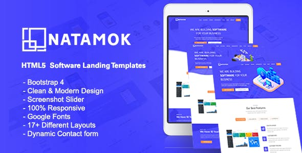 Natamok - Software Landing Template