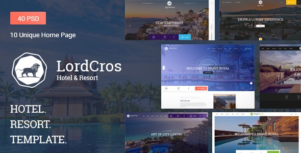 LordCros - Hotel, Resort & Spa PSD Template - Travel Retail