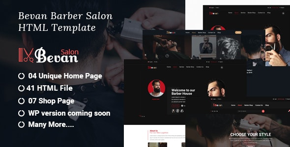Bevan – Barber Salon Bootstrap 4 HTML Template - Health & Beauty Retail