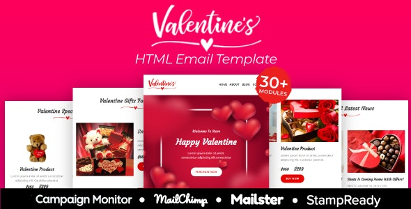 Valentine - Responsive Email Template 30+ Modules - StampReady + Mailster & Mailchimp - Newsletters Email Templates